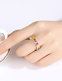 Fashion 18k Gold Copper Inlaid Zirconium Ring