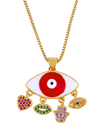 Fashion Eye Diamond Mom Drop Eye Necklace