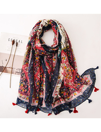 Fashion Color Printing Cashew Flower Cotton And Linen Printed Scarf Sunscreen Shawl