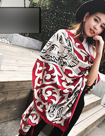 Fashion Red Lion Sunscreen Shawl Scarves