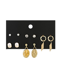 Fashion Gold Geometric Earrings 6 Pairs