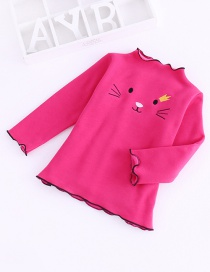 Fashion Rose Red Plush Cat Embroidered Children's Bottoming Shirt