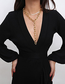 Fashion Gold Geometric Snake Bone Chain Y-shaped Tassel Necklace