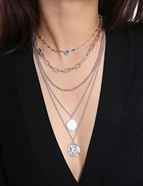 Fashion White K Sequins Stacked Portrait Love Letter Necklace