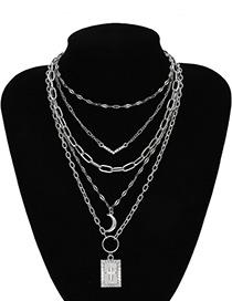 Fashion White K Multi-layer Tassel Cross V-shaped Diamond Crescent Moon Necklace