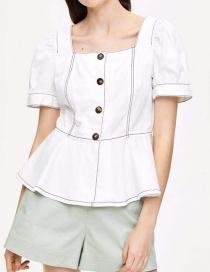 Fashion White Bright Line Ruffled Hem Shirt