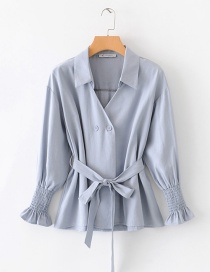 Fashion Blue Double-breasted Strap Shirt