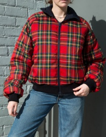 Fashion Red Plaid Stitching Double-faced Cotton Jacket