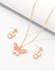 Fashion Gold Butterfly Pearl Drop Oil Earrings Necklace Set