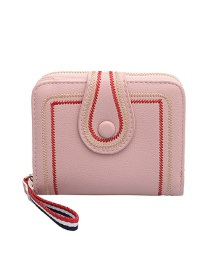 Fashion Pink 20 Fold Of Embroidered Short Wallet
