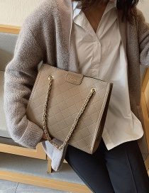 Fashion Khaki Rhombus Chain Shoulder Bag