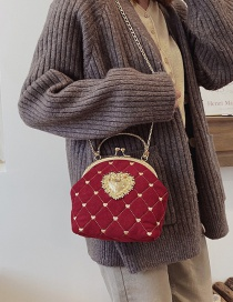Fashion Frosted Red Clip-on Shell Scrub Single Shoulder Messenger Handbag