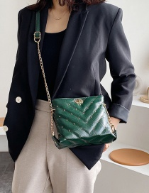 Fashion Green Rivet Chain Shoulder Messenger Bag