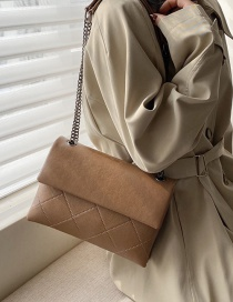 Fashion Large Brown Embroidery Thread Rhombic Chain Shoulder Bag
