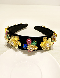 Fashion Black Resin Alloy Diamond Pearl Flower Headband