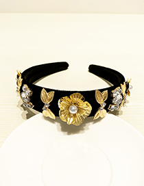 Fashion Black Resin Alloy Diamond Flower Headband