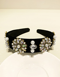 Fashion Black Resin Alloy Diamond Pearl Headband