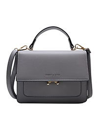 Fashion Gray Bronzed Letter Locks With Hand-sleeve Shoulder Bag