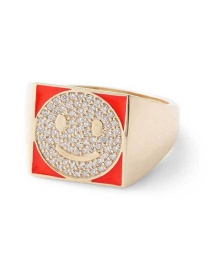 Fashion Red Smiley Face Gold-plated Oil-loving Closed Ring