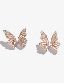 Fashion Rose Gold Butterfly And Diamond Earrings
