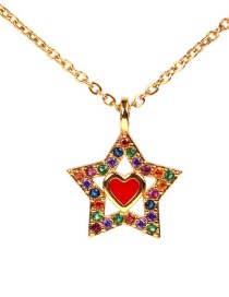 Fashion Gold Love Full Diamond Star Necklace
