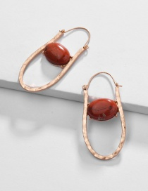 Fashion Red Alloy Hollow Natural Stone Earrings