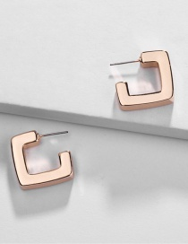 Fashion Gold Alloy Geometric Square Smooth Earrings