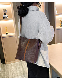 Fashion Coffee Color Stone Pattern Shoulder Messenger Bag