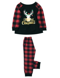Fashion Child Fawn Plaid Print Christmas Home Service Suit
