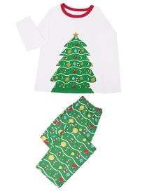 Fashion White Christmas Tree Print Home Service Suit