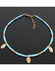 Blue Rice Beads Beaded Necklace