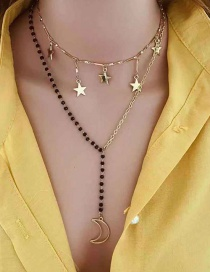 Gold Star Moon Double Necklace