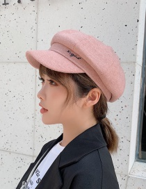 Fashion Pink Embroidered Letter Beret