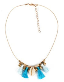 Fashion Blue Fluffy Fringed Shell Necklace