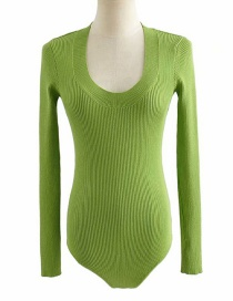 Fashion Willow Green U-neck Thread Knitted Jumpsuit