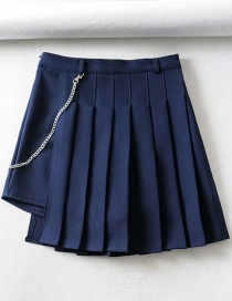 Fashion Navy Pleated Irregular A-line Skirt