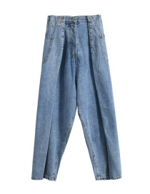Fashion Blue Washed Pleated Waist Denim Wide Leg Pants
