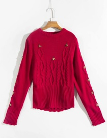 Fashion Red Knitted Sweater With Embroidered Flowers And Round Neck