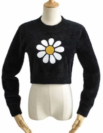 Fashion Black Sun Faux Mohair Embroidered Crew Neck Sweater