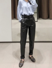 Fashion Black Leather Belt Trousers