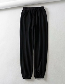 Fashion Black Straight Leg With Elastic Waist