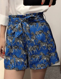 Fashion Blue Animal Print Strappy Shorts