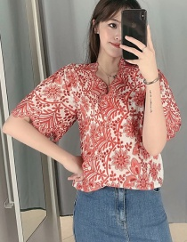 Fashion Red V-neck Shirt With Embroidery