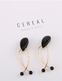 Fashion Black Acrylic Geometric Earrings