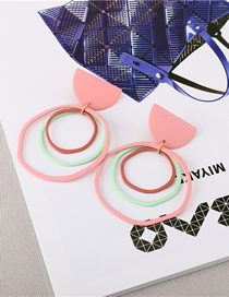 Fashion Pink Multi-layer Circle Earrings