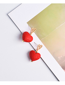 Fashion Red S925 Silver Needle Love Earrings
