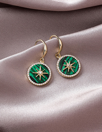 Fashion Green S925 Silver Needle Flash Diamond Star Earrings