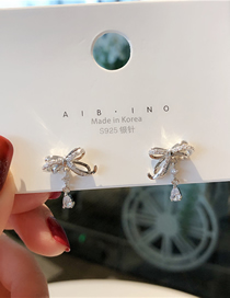 Fashion Silver 925 Silver Pin Micro-inlaid Zircon Bow Earrings