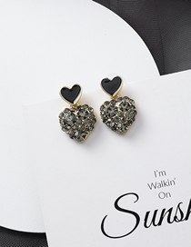 Fashion Love 925 Silver Needle Love Square Rhinestone Earrings