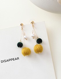 Fashion Yellow 925 Silver Needle Hit Color Ball Earrings